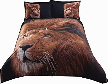 Alicemall 3D Lion Bedding Queen Size Super Cool Big Lion Head Prints Brown and Black 4-Piece Lightweight Microfiber Duvet Cover Set (1 Duvet Cover,  1 Flat Sheet and 2 Pillowcases)
