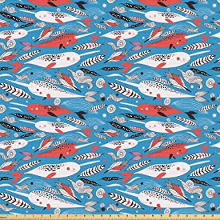 Ambesonne Narwhal Fabric by The Yard, Underwater Life Themed Whale and Bird Feather Illustration Colorful Design, Stretch Knit Fabric for Clothing Sewing and Arts Crafts, Multicolor