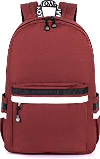 H HIKKER-LINK Water-Resistant 15.6 inch College Laptop Backpack School Bookbag Travel Daypack Red