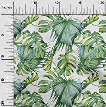 oneOone Viscose Jersey White Fabric Neem Leaves DIY Clothing Quilting Fabric Print Fabric by Yard 60 Inch Wide