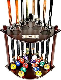 Cue Rack Only - 8 Pool Billiard Stick & Ball Floor Stand with Scorer Choose Mahogany, Dark Oak or Black Finish