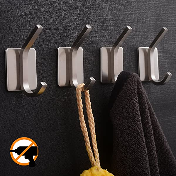 YIGII Towel Hook Adhesive Hooks Bathroom Hooks Wall Hooks Bath Show Robe Hook Self Adhesive Coat Hook Stick On Wall Stainless Steel Brushed 4 Pack