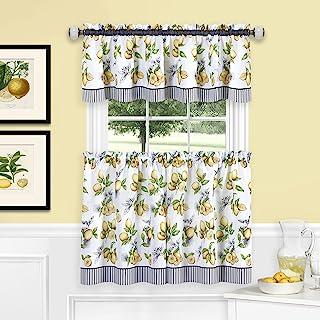 "Achim Home Furnishings, Yellow Lemon Drop Tier and Valance Window Curtain Set, 58"" x 24"""