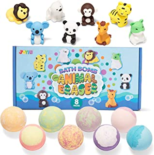 Bath Bombs for Kids with Animal Eraser, 8 Pack Bubble Bath Bombs with Surprise Toy Inside, Natural Essential Oil SPA Bath ...