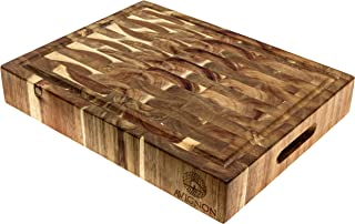 AVIGNON HOME Large End Grain Wooden Cutting Board Chopping Boards for Kitchen, Butcher Block Countertop, Prep Station, Serving Platter, Charcuterie Board 15 Inches x 12 Inches x 2.4 Inches
