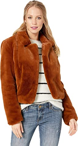 Faux Fur Crop Jacket in Milk Chocolate