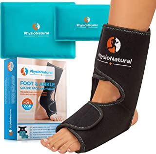 Foot & Ankle Pain Relief Ice Wrap with 2 Hot/Cold Gel Packs - for Sprained Ankle, Achilles Tendon Injuries, Plantar Fasciitis, Bursitis & Sore Feet | Microwaveable, Freezable and Reusable (XS-XL)