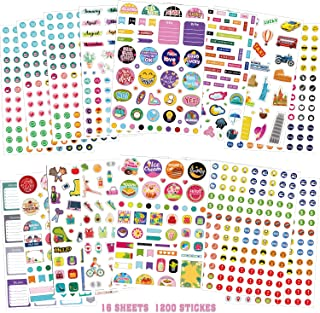 16 Sheets Planner Stickers Set, Over 1200 Assorted Mini Icons Daily Stickers Variety Monthly Tabs for Adults DIY Calendar ...