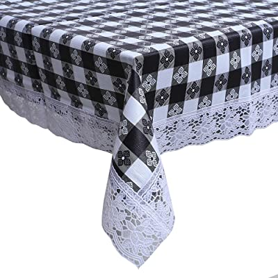 """Kuber Industries Checkered Design PVC 4 Seater Center Table Cover 60""""x40""""(Grey) - CTKTC040108"""