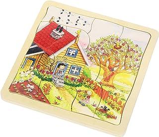Goki - 2041614 - Puzzle en Bois - Couches - Saisons - 54 Pièces