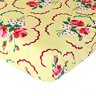 Retro Floral Yellow and Pink Fitted Crib Sheet - Fits Standard Crib Mattresses and Daybeds - Soft Premium Cotton