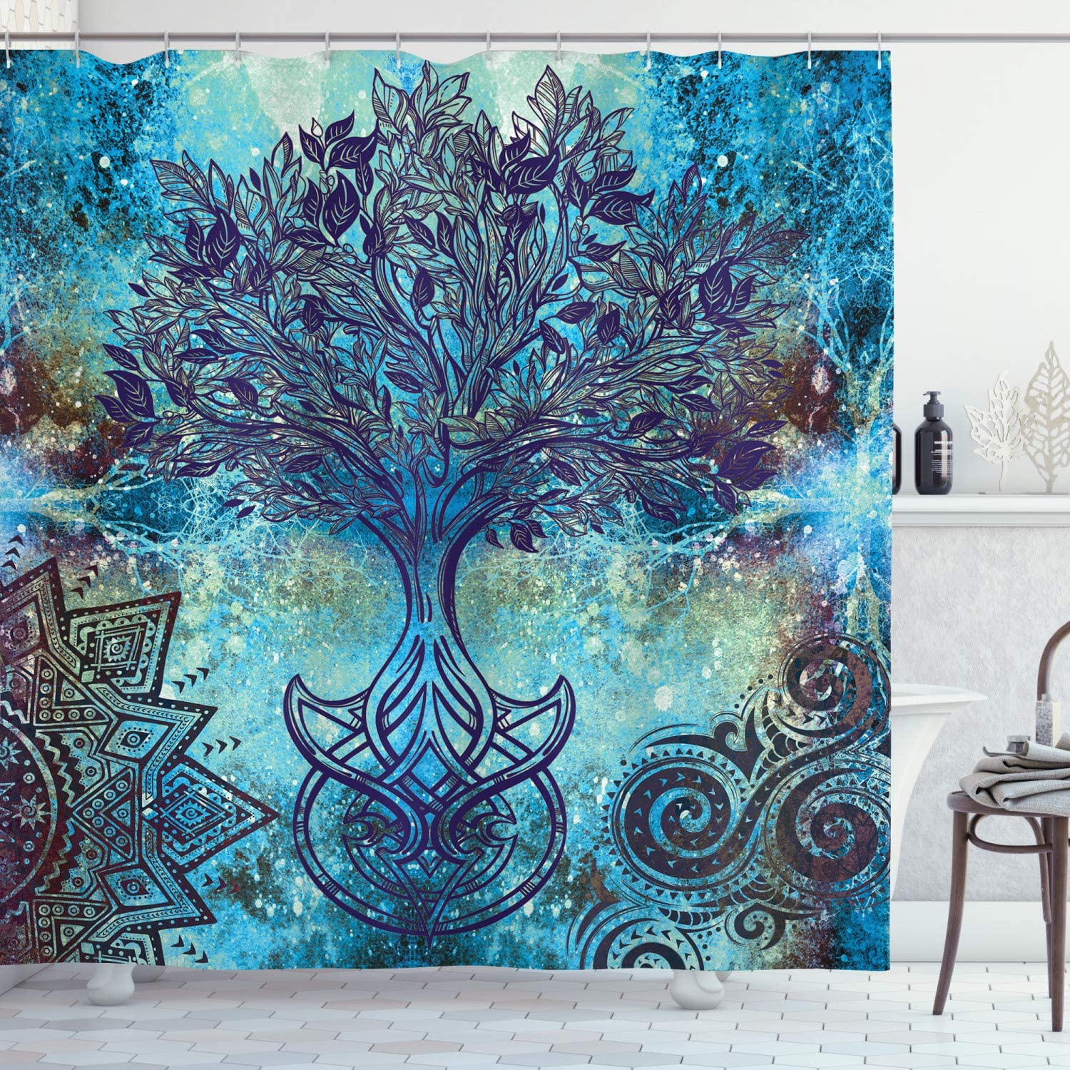 El Paso Mall Ambesonne Ethnic Shower Curtain Grunge with Style Fashion Pattern Tree
