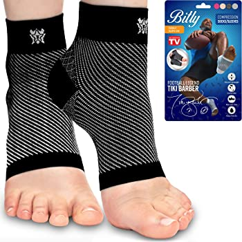 Bitly Plantar Fasciitis Compression Socks for Women & Men - Best Ankle Compression Sleeve, Nano Brace for Everyday Use - Provides Arch Support & Heel Pain Relief (Black, Medium)