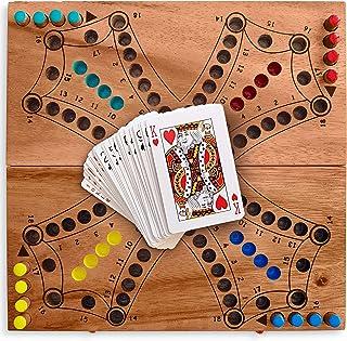 KHAPLO ® - Jeu du toc en Bois ou tac TIK (modèle pour 4 Joueurs) - Aggravation - Jeu de stratégie en Bois d'acacia de 2, 3...