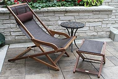 Outdoor Interiors Sling and Eucalyptus Ottoman/Stool