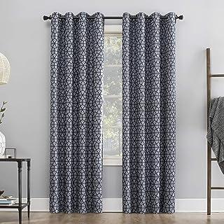 "Sun Zero Verve Twill Mosaic Thermal Extreme 100% Blackout Grommet Curtain Panel, 52"" x 95"", Navy Blue/Denim"