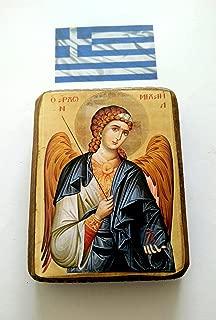 Wooden Greek Christian Orthodox Wood Icon of Archangel Michael / A0