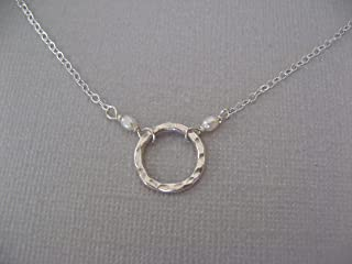 Hammered Sterling Silver Ring Necklace with Freshwater Cultured Pearls Jewelry