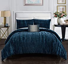 Chic Home Westmont 4 Piece Comforter Set Crinkle Crushed Velvet Bedding - Decorative Pillow Shams Included, Queen, Navy