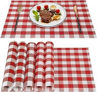 Lot de 6 Sets de Tables, Set de Table tissé à Carreaux, Tapis de Table en PVC lavables et résistants à la Chaleur Tapis de...