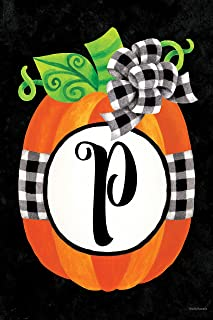 Custom Decor Gingham Pumpkin - Letter P - Embroidered Monogram - Decorative Double Sided Flag - Garden Size, 12 Inch X 18 Inch, Licensed, Copyright & Trademark CDI. USA