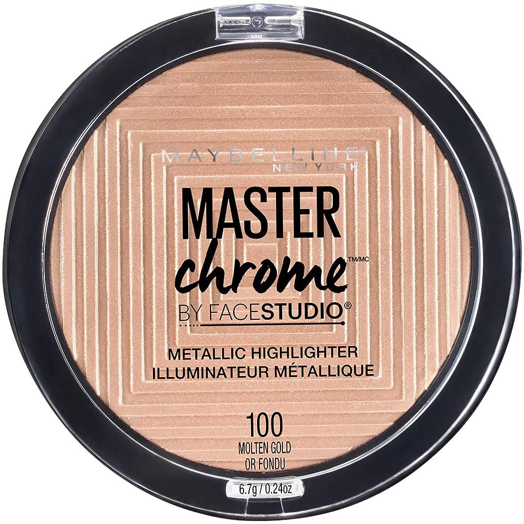 一掃する出費羊のMAYBELLINE FaceStudio Master Chrome Metallic Highlighter - Molten Gold Or Fondu (並行輸入品)