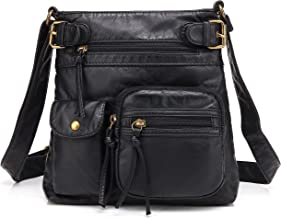 Scarleton Small Multi Pocket Crossbody Bag for Women, Ultra Soft Washed Vegan Leather Shoulder Purse, H1833