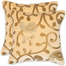 "NEHA HANDICRAFTS Silk & Velvet 2 Piece Decorative Handmade Ambi Design Sequin Work Sofa Cushion Covers - 12"" x 12"", Ivory"