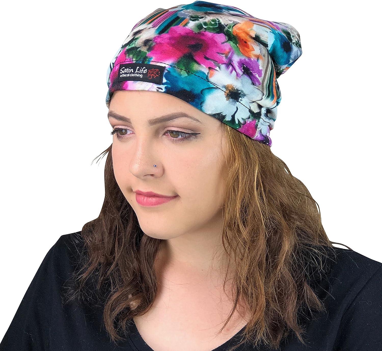 Satin Life Adjustable Drawstring Patterned Satin Lined Hat Cap Beanie
