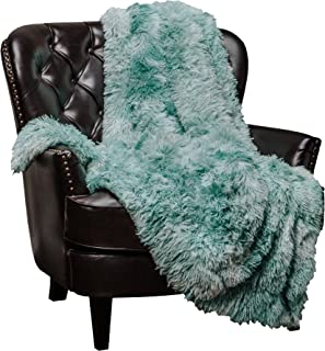 Chanasya Faux Fur Sherpa Throw Blanket | Color Variation Marble Print | Super Soft Shaggy Fuzzy Fluffy Elegant Cozy Plush Microfiber Aqua Blue Blanket for Couch Bed Living Room - (50x65)