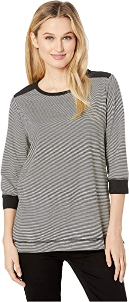 Pinstripe Jersey 3/4 Sleeve Crew Neck Top