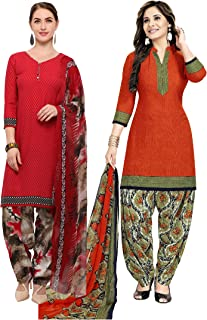 Rajnandini Women's Red and Orange Crepe Printed Unstitched Salwar Suit Material (Combo Of 2) (Free Size)