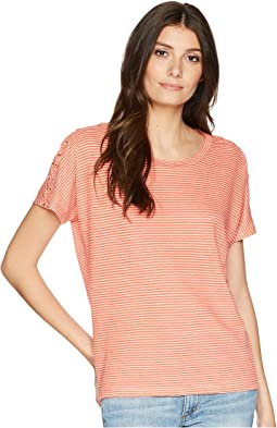Lace-Up Striped Linen T-Shirt
