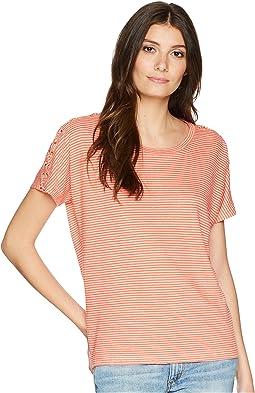 LAUREN Ralph Lauren Lace-Up Striped Linen T-Shirt