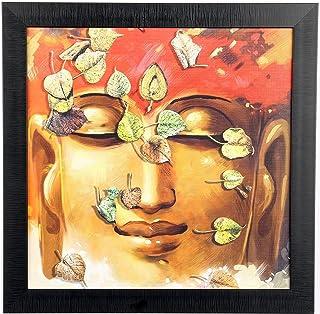 Sehaz Artworks 'Buddha Leafs Modern' Wall Painting Frame (Fibre, 33.5 cm x 33.5 cm)