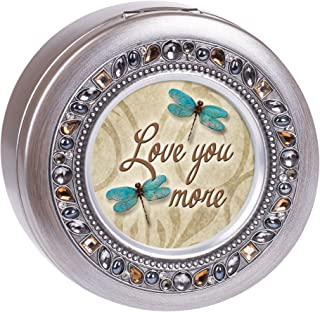 Cottage Garden Love You More Dragonfly Jeweled Pewter Colored Round Music Box Plays What a Wonderful World