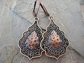 Copper Mixed Metals Filigree Danging Earrings Artisan Jewelry