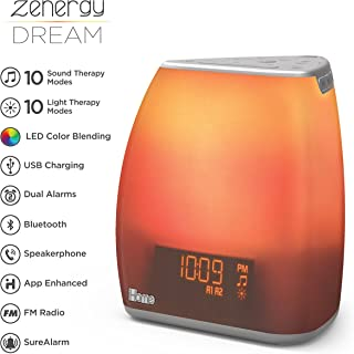iHome Zenergy Bedside Sleep Therapy Machine Sleep Better, Easier & Longer, Zen Light & Sound Therapy Machine, Anti-Anxiety Stress Relief, Soft Lighting, Bluetooth Audio, White Noise Machine