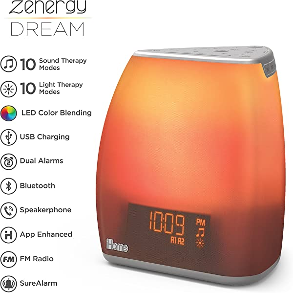 IHome Zenergy Bedside Sleep Therapy Machine Sleep Better Easier Longer Zen Light Sound Therapy Machine Calming Soothing Sounds Soft Lighting Bluetooth Audio White Noise Machine