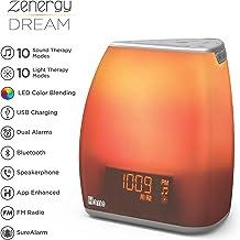 iHome Zenergy Bedside Sleep Therapy Machine Sleep Better, Easier & Longer, Zen Light & Sound Therapy Machine, Anti-Anxiety Stress Relief, Soft Lighting, Bluetooth Audio, White Noise Machine