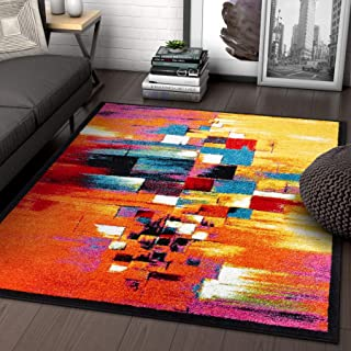 Champlain Multi Cubes Yellow Orange Blue Modern Abstract Painting Area Rug 5 x 7 ( 5'3