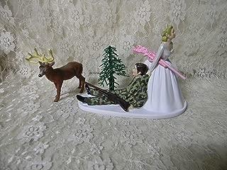 Wedding Deer Hunter Bride w Pink Camo Gun Hunting Cake Topper