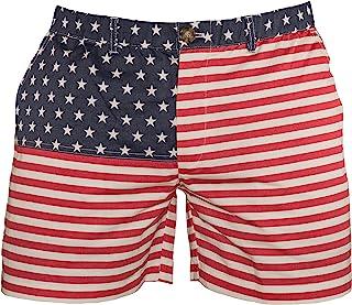 "Meripex Apparel American Flag Men's USA Patriotic 5.5"" Inseam Elastic-Waist 4th of July Shorts"