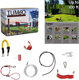 Tumbo Trolley Dog Containment System - Stretching Coil Cable with Anti-Shock Bungee (Safer and Less tangles) Aerial Dog Tie Out