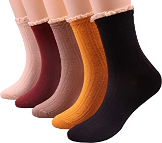 5 Pairs Women Lace Ruffle Frilly Casual Knit Cotton Crew Socks, Size 5-9 S50