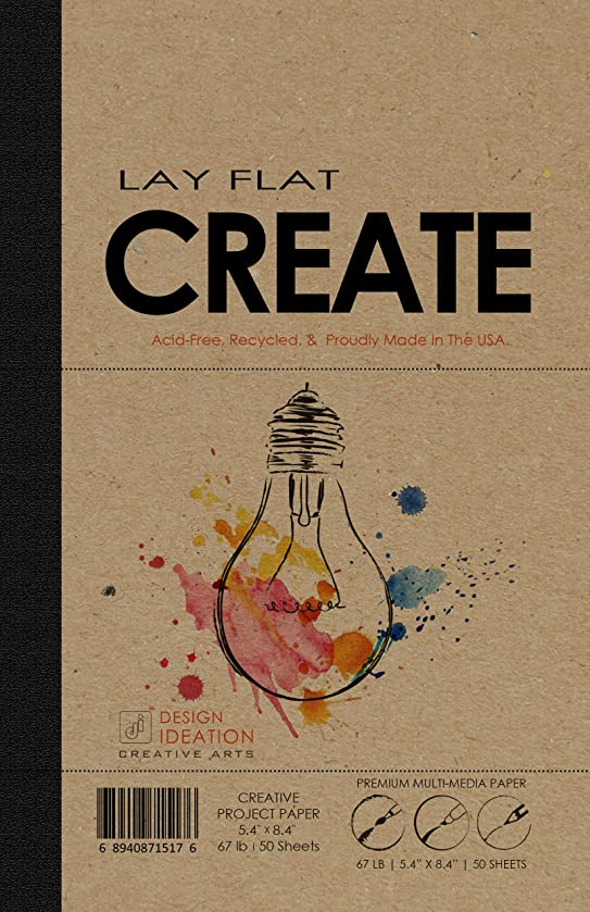 LAY FLAT : Premium Paper Multi-Media Creative Project Book for Pencil, Ink, Marker, Charcoal and Watercolor Paints. Great for Art, Design and Education. (5.4