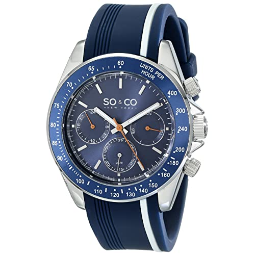 SO&CO New York Mens 5010R.1 Monticello Day and Date Tachymeter Watch with Blue Rubber