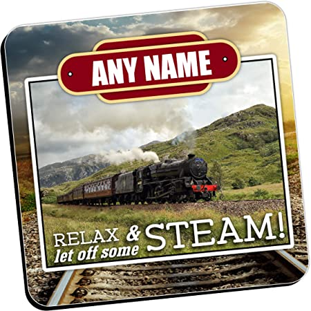 Personalised Coasters - Any Name's STEAM Train Wine Drinks Tea Coffee Mat (Qty 1) Home, Birthday, Christmas, Fathers Day Gift Ideas for him her N10