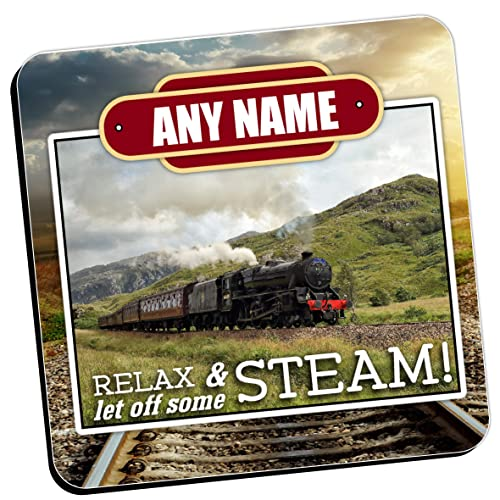 Personalised Coasters - Any Name's Steam Train Wine Drinks Tea Coffee Mat (Qty 1)