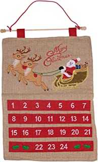 Christmas 24 Day Hanging Burlap Advent Calendar | Colorful Santa's Sleigh and Reindeer Christmas Design | Traditional Holiday Christmas Decor Theme | Perfect for Home or Office | Measures 21.75